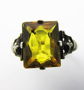 Vintage 1940s Glamorous Sterling Silver and Citrine Rhinestone Ring