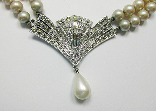 Vintage 1950s Exceptional Art Deco Style Pearl Necklace