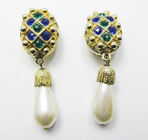 Stunning Vintage Retro Contemporary Style Pearl Drop Earrings