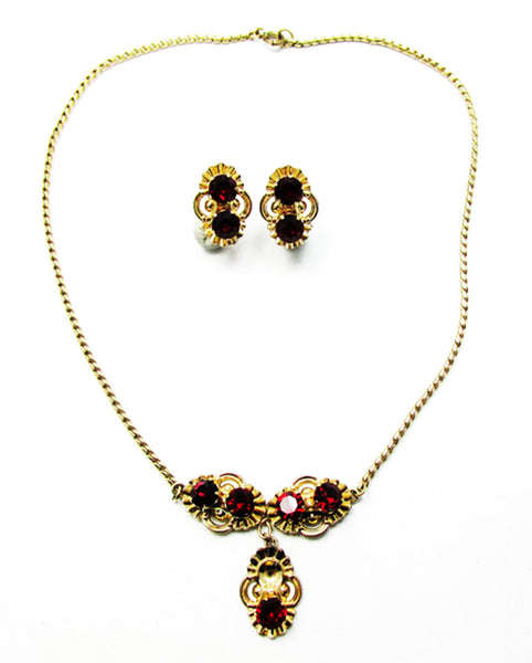 Van Dell Vintage 1940s Stunning Retro Rhinestone Necklace and Earrings