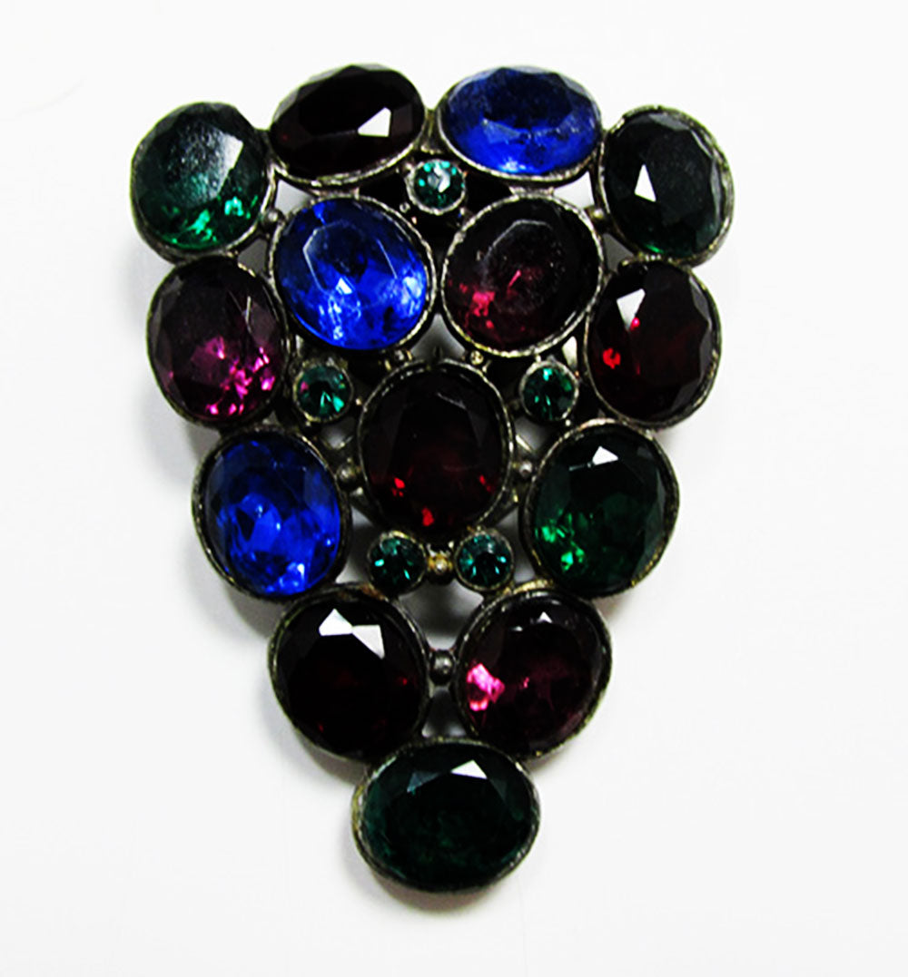 Vintage Jewelry 1930s Art Deco Multi-Colored Diamante Dress Clip - Front