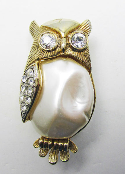 Vintage 1950s Dramatic Mid Century Pearl and Rhinestone Owl Pin