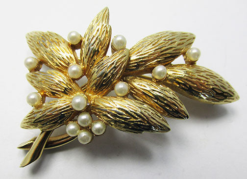 Jomaz Vintage Mid Century 1950s Sophisticated Pearl Leaf Pin