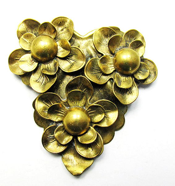 Vintage Art Nouveau Unique 1920s Brass Floral Dress Clip