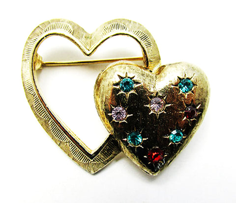 Emmons 1950s Mid-Century Eye-Catching Double Heart Rhinestone Pin