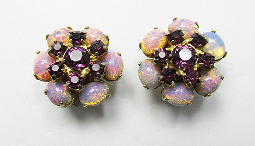 Vintage 1950s Stunning Mid Century Amethyst and Opal Earrings