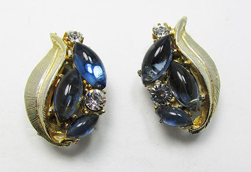 Vintage 1950s Spectacular Mid Century Sapphire Cabochon Earrings