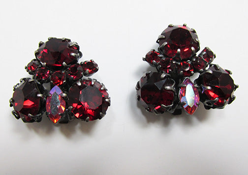 Made in Austria Vintage Mid Century Distinctive Ruby Floral Earrings