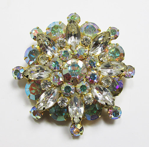 Vintage Mid Century 1950s Eye-Catching Iridescent Floral Pin