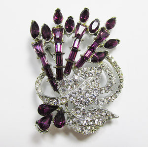 Vintage Mid Century 1950s Dazzling Amethyst Floral Bouquet Pin