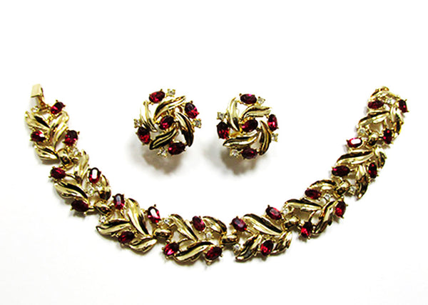 Crown Trifari 1950s Vintage Ruby Diamante Bracelet and Earrings - Front