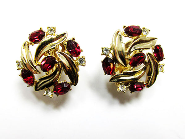 Crown Trifari 1950s Vintage Ruby Diamante Bracelet and Earrings - Earrings