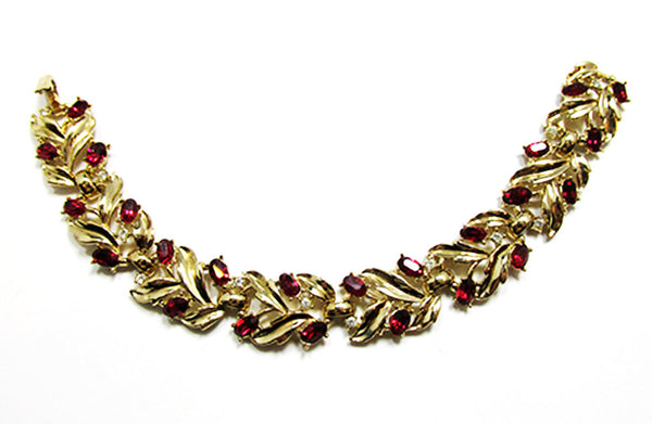 Crown Trifari 1950s Vintage Ruby Diamante Bracelet and Earrings - Bracelet