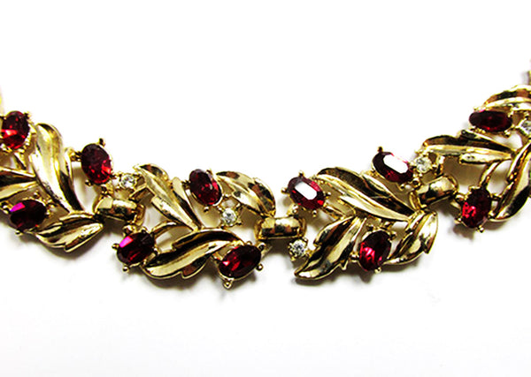 Crown Trifari 1950s Vintage Ruby Diamante Bracelet and Earrings - Close Up