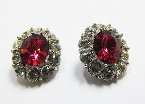 Vintage Retro 1930s Glamorous Rhinestone Button Earrings