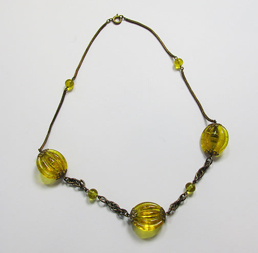 Czechoslovakia Vintage 1930s Eye-Catching Art Deco Glass Necklace