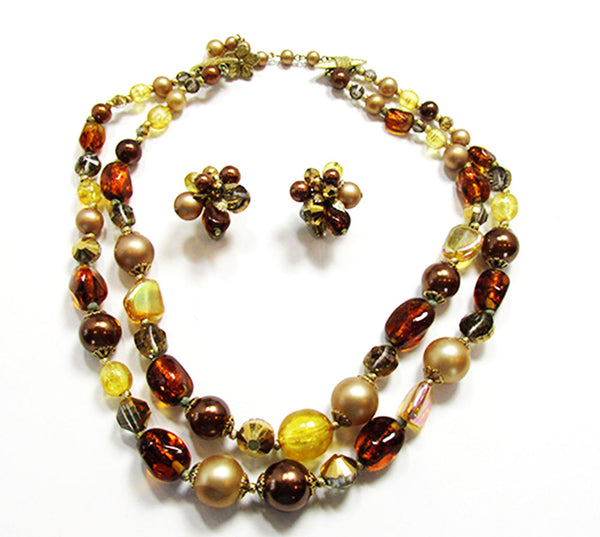 Vendome 1960s Vintage Shades of Autumn Necklace and Earrings Set - Front