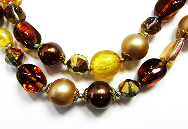 Vendome 1960s Vintage Shades of Autumn Necklace and Earrings Set - Close Up
