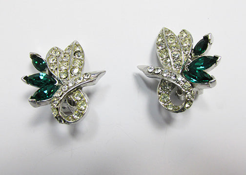 Pell Vintage 1950s Striking Emerald Green and Clear Floral Earrings