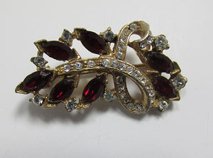 Vintage 1940s Unique Dainty Ruby Red Floral Spray Pin