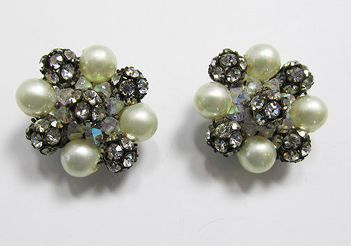 Vintage 1960s Bold Rhinestone, Pearl, and Crystal Button Earrings