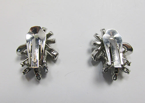 Vintage 1940s Retro Sterling Silver Rhinestone Floral Bouquet Earrings
