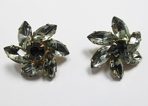 Weiss Vintage 1950s Spectacular Black Diamond Floral Earrings