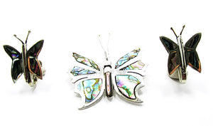 Vintage Abalone and Sterling Butterfly Pin and Earrings Book Piece