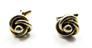 Vintage 1960s Men's Jewelry Handsome Gold Love Knot Cufflinks - Front
