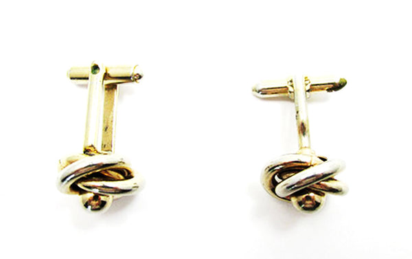 Vintage 1960s Men's Jewelry Handsome Gold Love Knot Cufflinks - Side