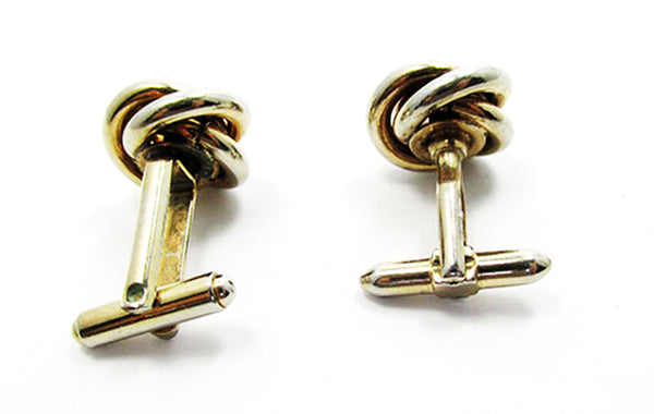 Vintage 1960s Men's Jewelry Handsome Gold Love Knot Cufflinks - Back