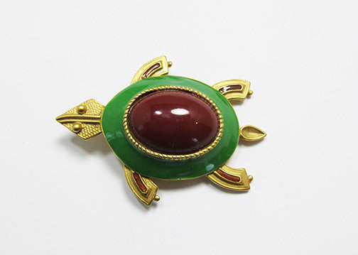 Vintage 1960s Adorable Enameled Carnelian Figural Turtle Pin