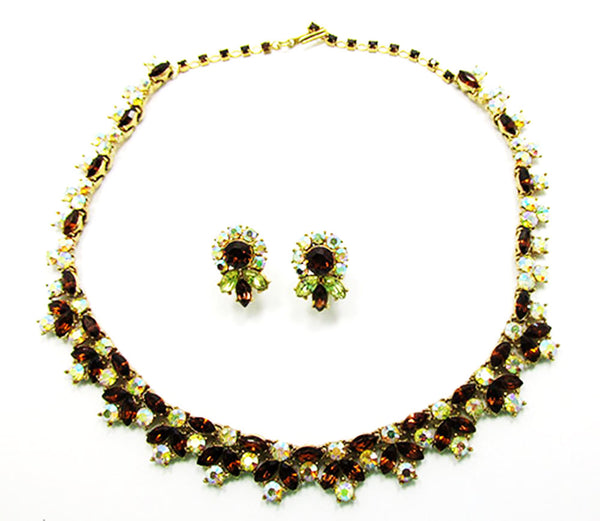 Crown Trifari 1950 Vintage Breathtaking Diamante Necklace and Earrings - Front