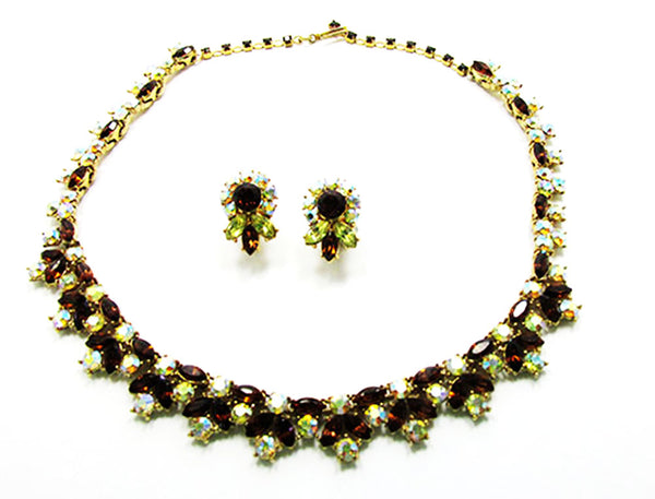 Crown Trifari 1950 Vintage Breathtaking Diamante Necklace and Earrings -Front