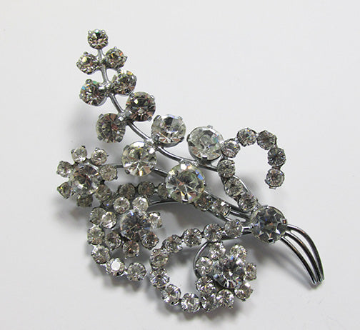 Vintage 1940s Superb Delicate Rhinestone Floral Bouquet Pin
