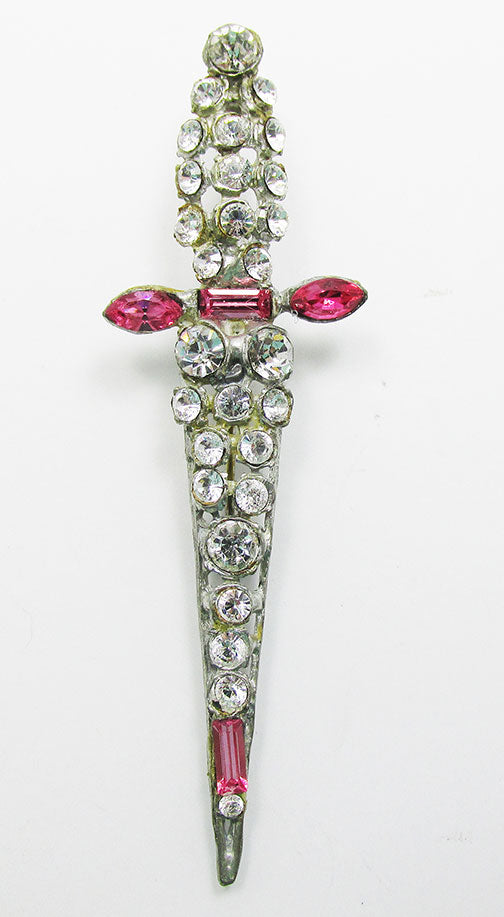 Vintage 1930s Eye-Catching Distinctive Rhinestone Sword Pin