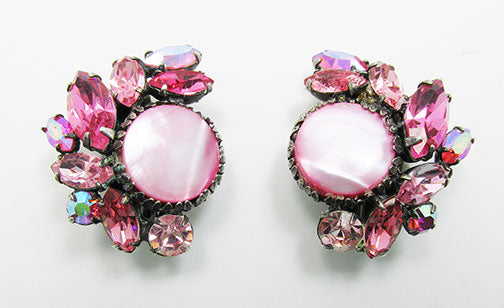 Vintage 1950s Stunning Pink Rhinestone Floral Earrings