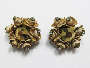 Vintage Mid Century 1950s Distinctive Enameled Floral Button Earrings