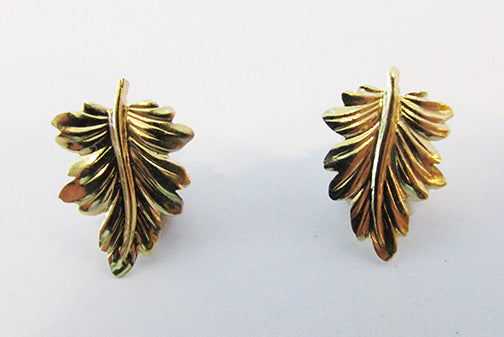 Danecraft Vintage 1960s Contemporary Style 14Kt Gold Leaf Earrings