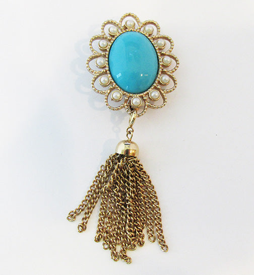 Sarah Coventry Vintage 1970s Lovely Turquoise and Pearl Drop Pin