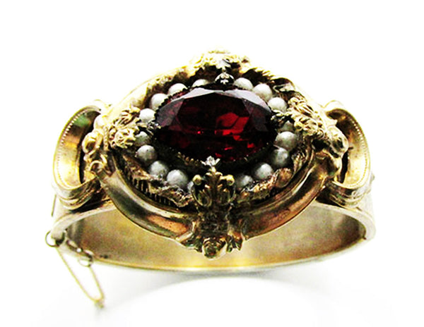 Antique/Vintage Edwardian 1910s Ruby and Pearl Cuff Bracelet