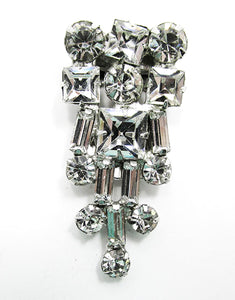 Vintage Costume Jewelry Stunning 1930s Art Deco Diamante Dress Clip - Front