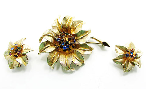 Judy Lee Vintage 1950s Mid-Century Stylish Floral Pin and Earrings Set