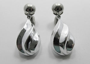 Crown Trifari Vintage Bold Contemporary Style Silver Drop Earrings
