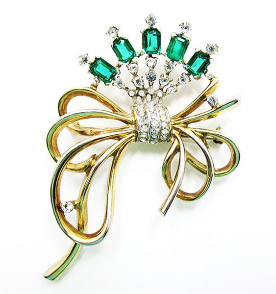 Crown Trifari 1940s Stunning Alfred Philippe Diamante Floral Bow Pin - Front