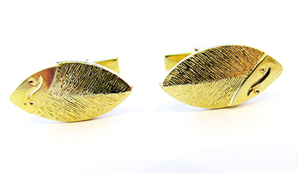 Vintage 1960s Men's Jewelry Contemporary Style Gold Cufflinks - Front