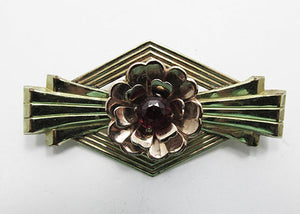 Harry Iskin Vintage 1940s Gorgeous Art Deco Style Gold Filled Pin