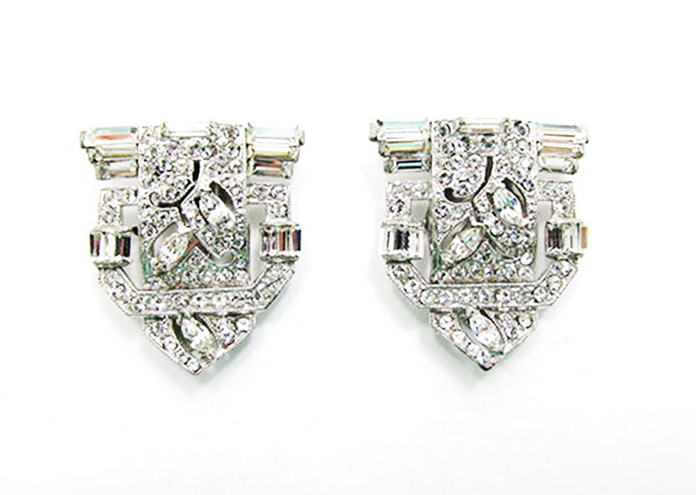 Vintage 1930s Exceptional Retro Pair of Sparkling Art Deco Dress Clips