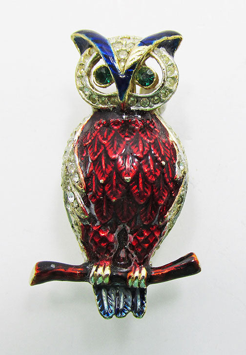 Adorable Vintage Mid Century 1950s Enameled Owl Pin
