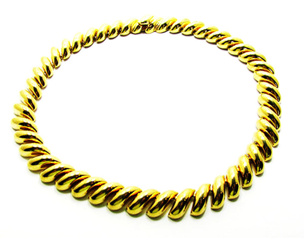 St. John 1960s Vintage Jewelry Contemporary Style Gold Link Necklace - Front